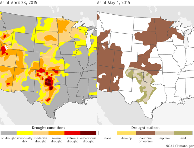 Map pair shows drought status as of April 28, 2015, and the drought outlook for May in the southern Plains