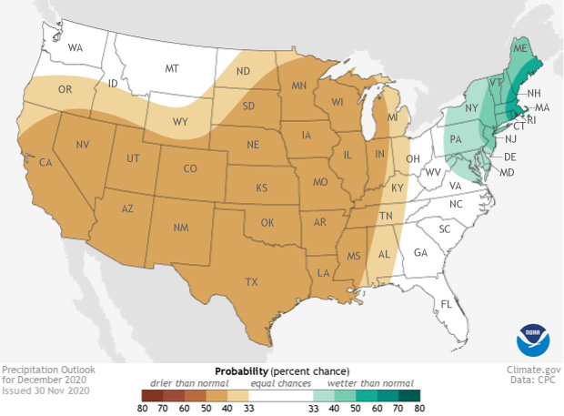 Map of precipitation outlook for December 2020 across the US