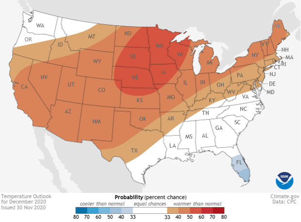 Map of temperature outlook for Dec 2020 across the US