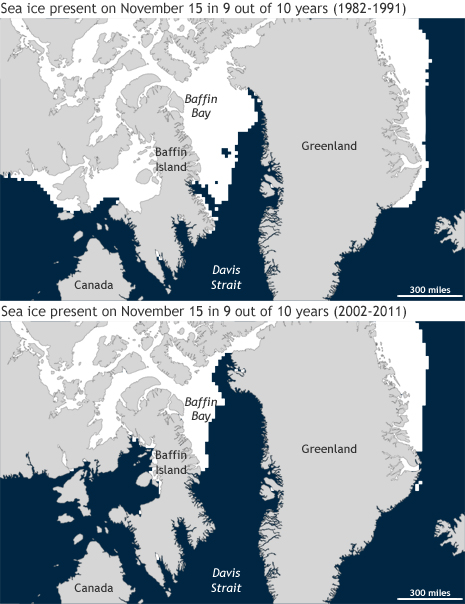 Maps showing where sea ice was present in at least 9/10 years on Nov. 15 during 1982-1991 and 2002-2011
