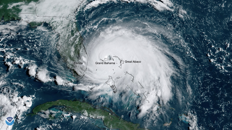 satellite image of Hurricane Dorian in the Atlantic offshore of Florida