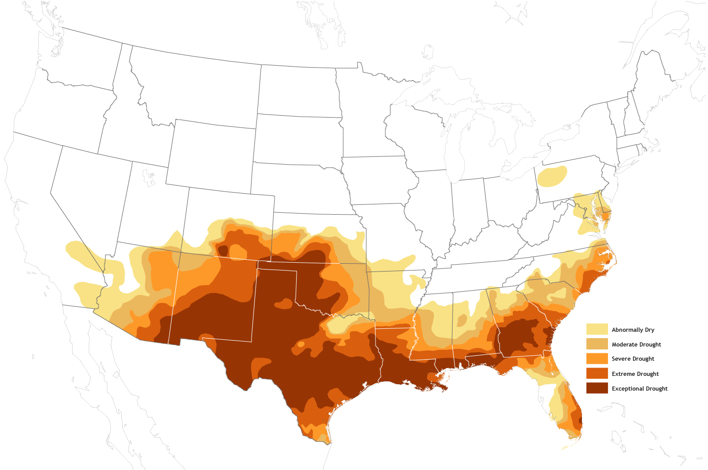 Drought Baking The Southern United States NOAA Climategov - Map of southern us