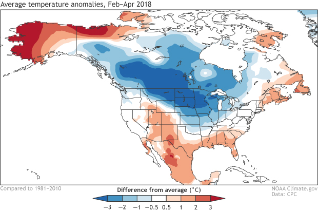 Map of North American temperatures in Feb-Mar 2018 compared to average