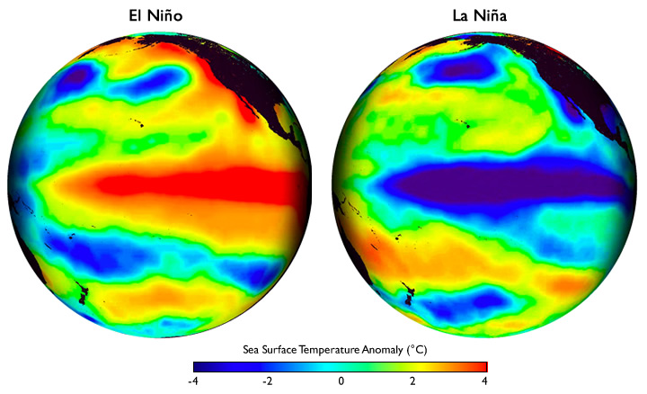 Pair of globes showing sea surface temperatures during El Nino and La Nina phases