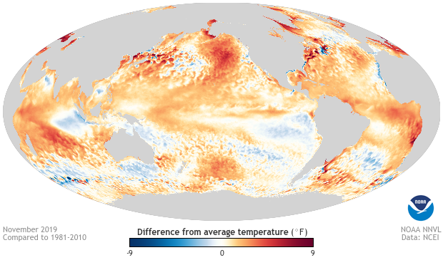 November, Sea surface temperature, anomaly