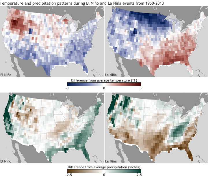 Temperature and precipitation anomaly maps for El Niño and La Niña