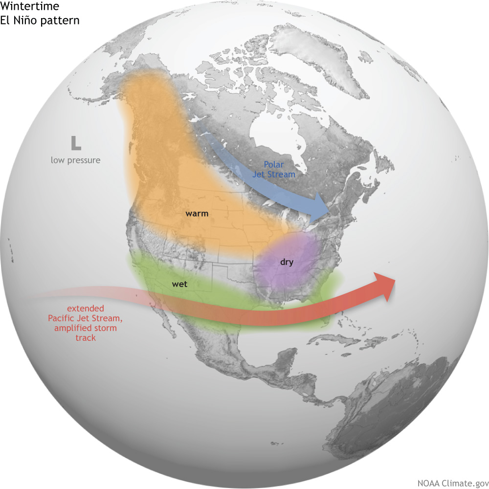United States El Niño Impacts NOAA Climategov - North america air temperature map