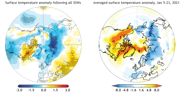 Surface temperature anomalies with SSW