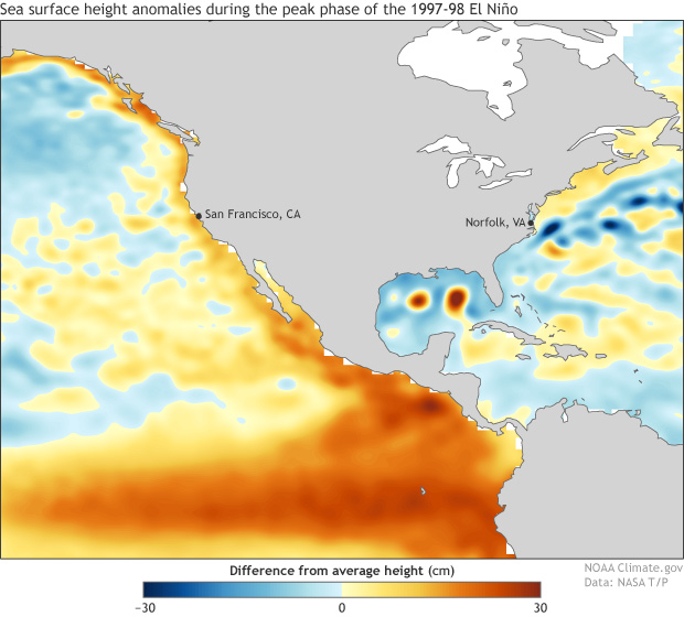 sea surface height DJF 1997-98