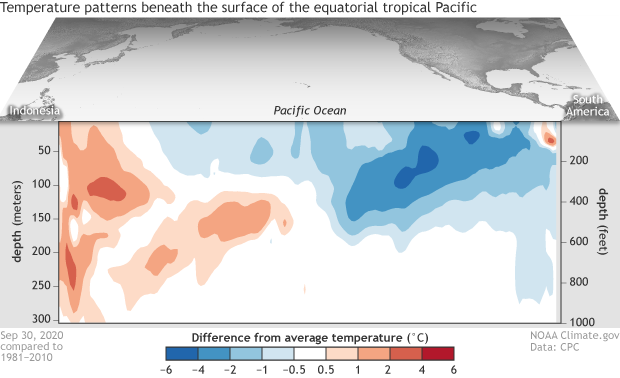 Cross-section map of the upper 700 meters of the tropical Pacific Ocean showing sub-surface temperatures in September 2020 compared to the 1981-2010 average