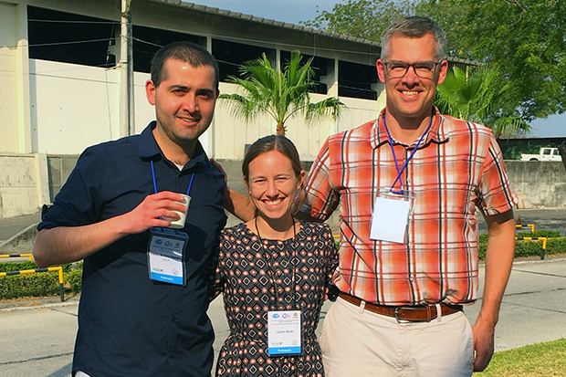 Photo of Larson and colleagues at ENSO conference in Ecuador