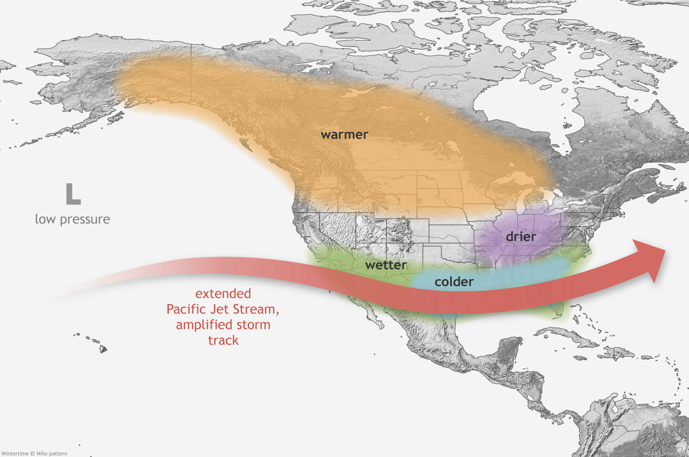 How El Niño And La Niña Affect The Winter Jet Stream And US - Us weather map with jet stream