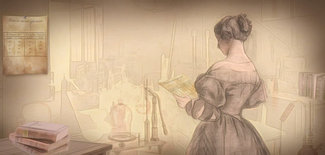 The historical figure Eunice Newton Foote is illustrated standing in front of chemistry equipment, reading from a piece of paper.