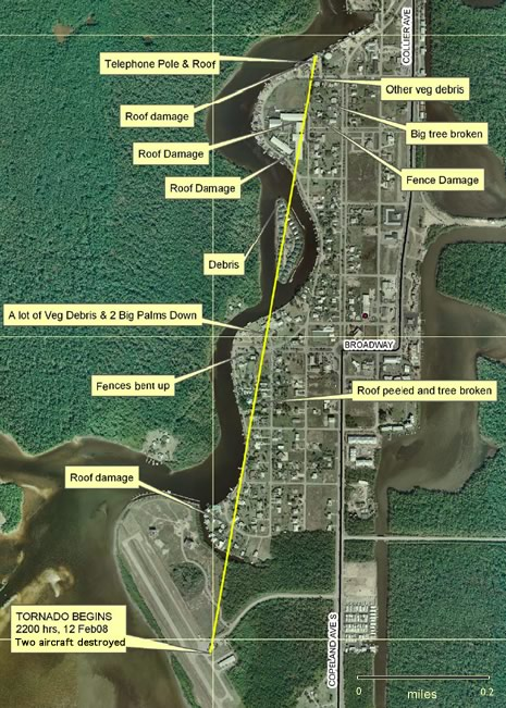 Map of Everglades city damage