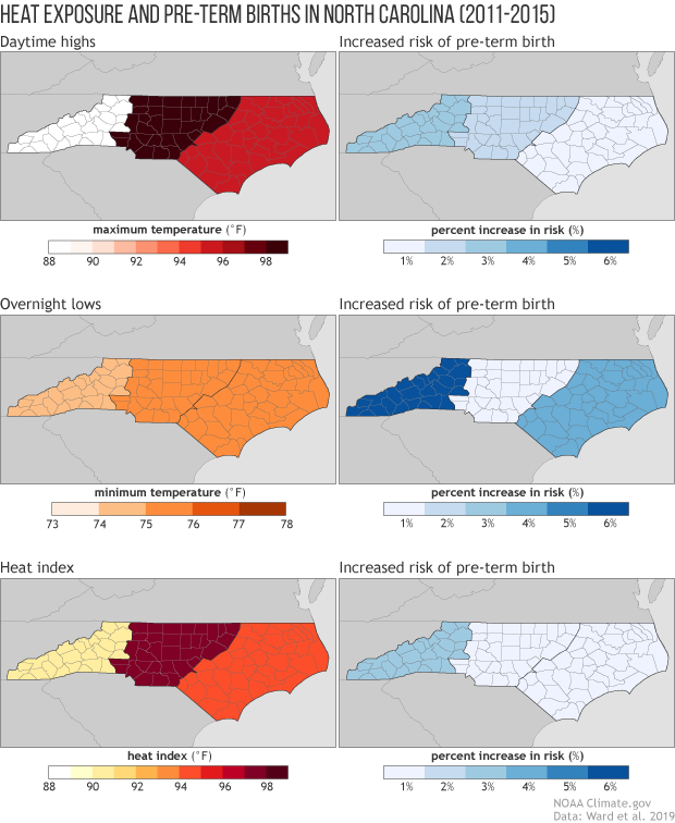 Three rows of small maps of NC showing the threshold temperature extreme risk of pre-term birth and the magnitude of risk