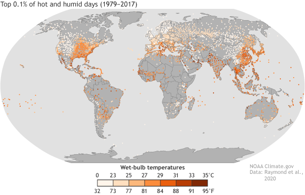Extreme heat ahd humidity map