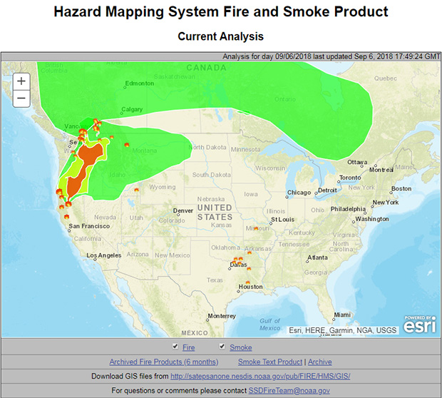 Screenshot of the Hazard Mapping System Fire and Smoke Product