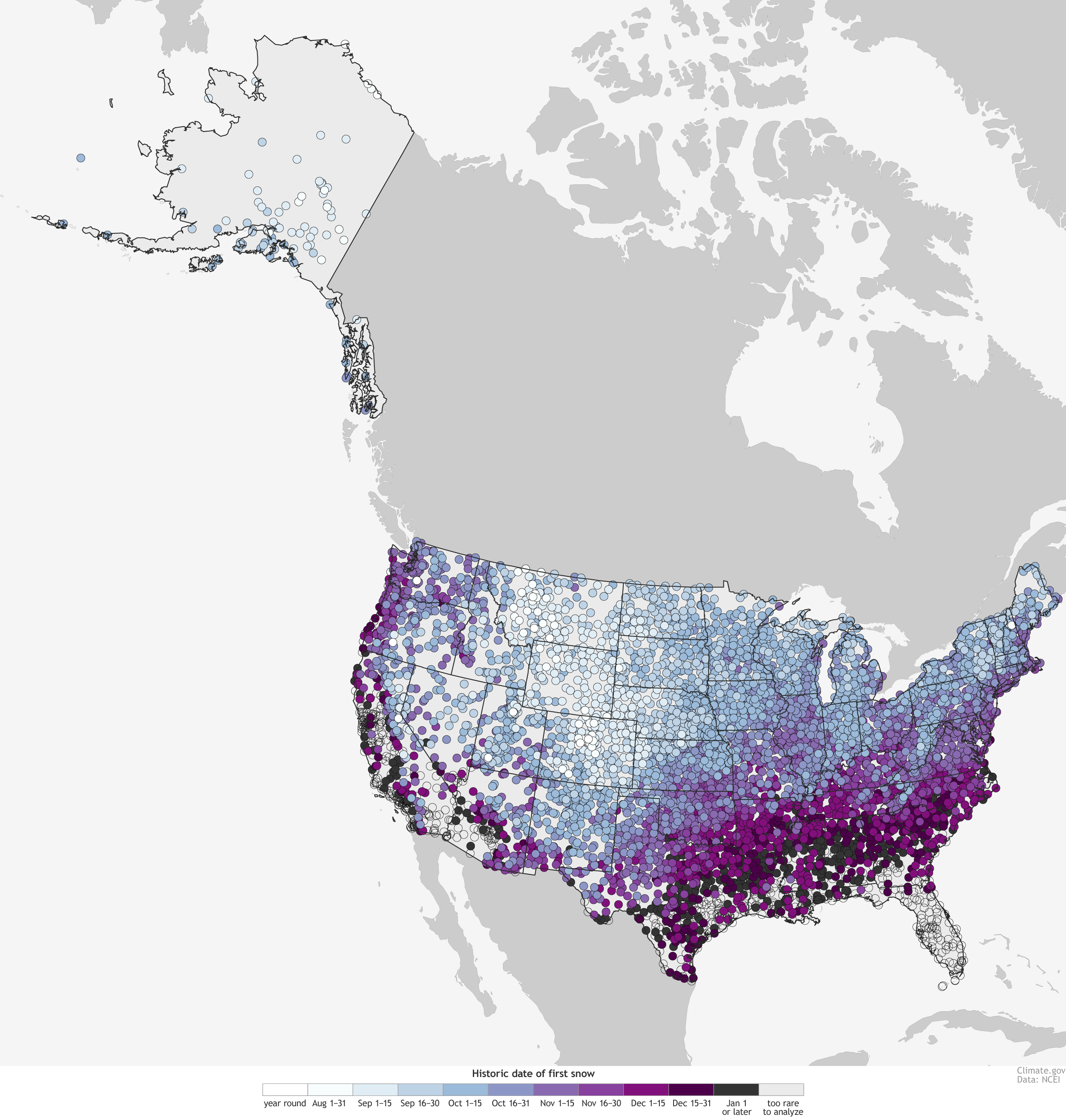 map with colored dots showing historic first date of snow for hundreds of us locations