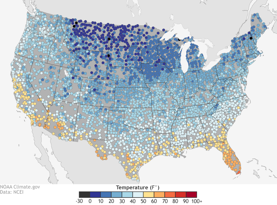 US spring extremes coldest and warmest first days of spring