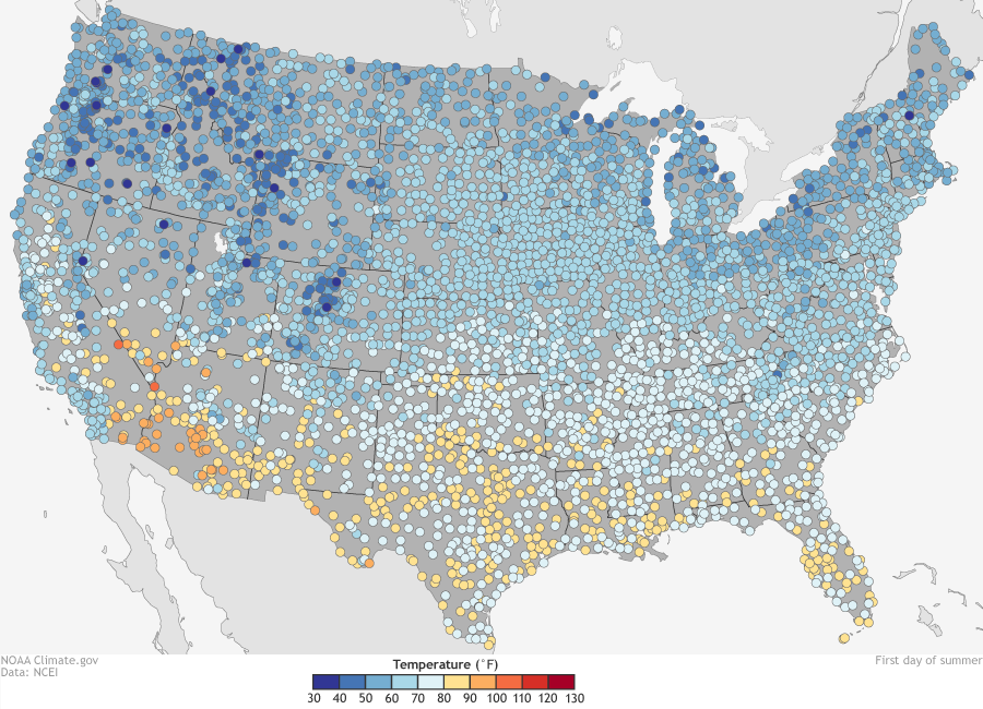 U.S. summer extremes: coldest and warmest first days of summer ...