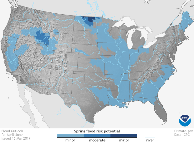 US Spring Climate And Flood Outlook NOAA Climategov - Current weather flooding map of us