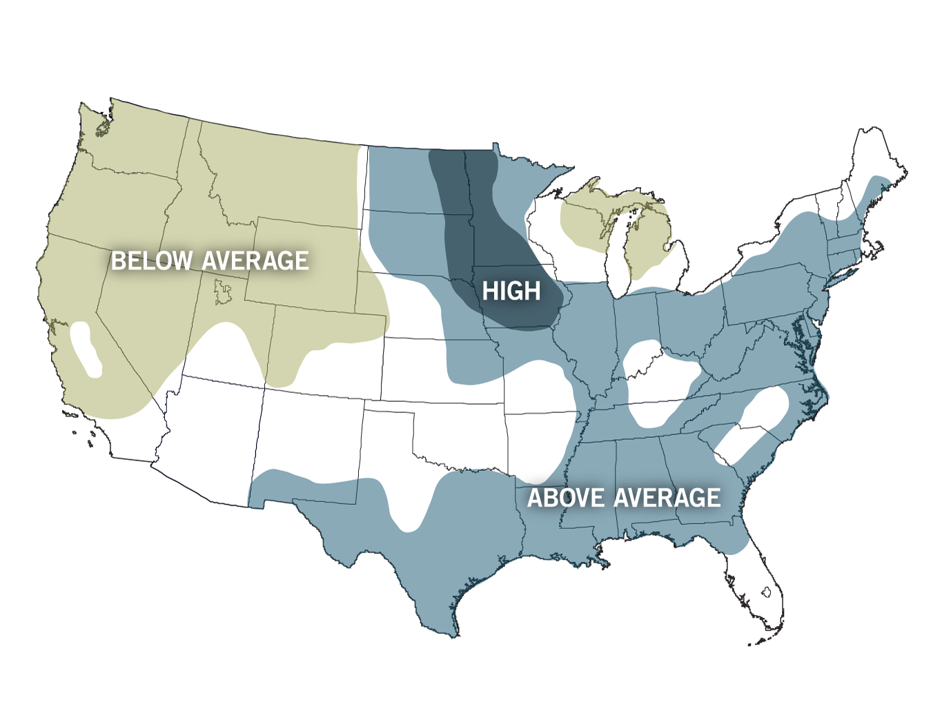 Us Flood Map Global Warming Above average flood risk is forecast for one third of U.S. | NOAA