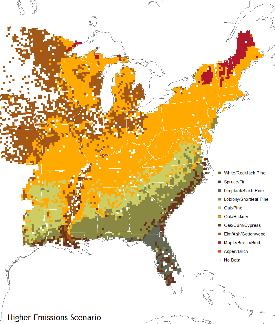 Warmer Climate May Repaint Fall Colors In Eastern US NOAA - Us map of forest types