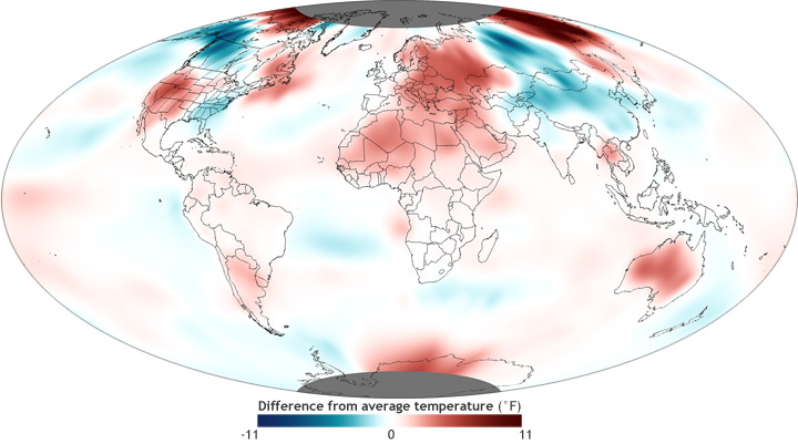 global map of November 2012 temperature anomaly