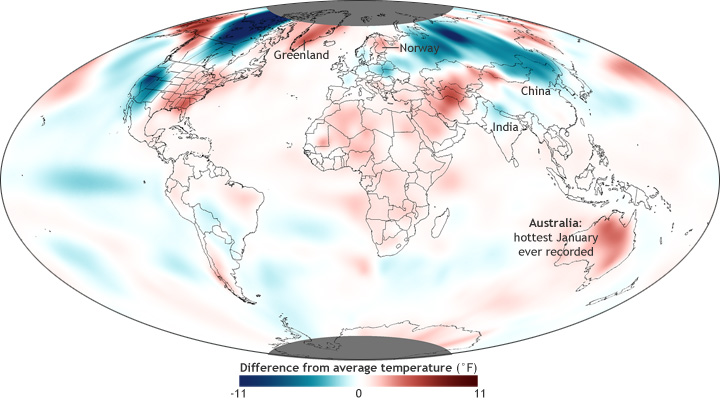 global map of Jan 2013 temp anomalies