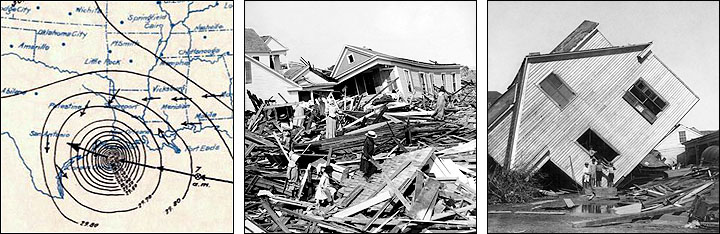 Montage of hurricane damage