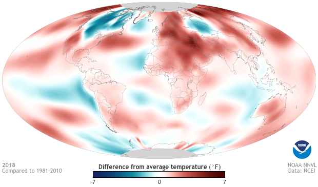 global map of temperatures in 2018 compared to average. Red areas were warmer than average, blue were cooler.