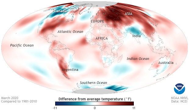 temperature, anomaly, March, global