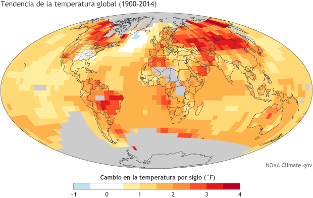 Global map showing the rate of surface warming or cooling between 1900-2014