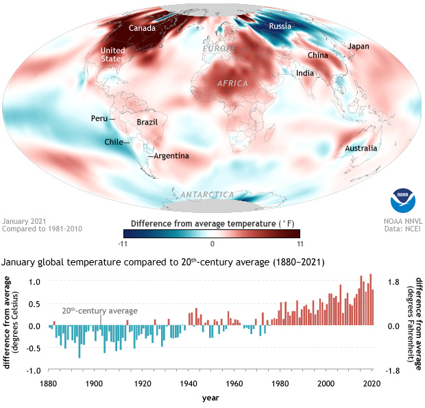 map of the globe showing difference from average temperature in January 2021