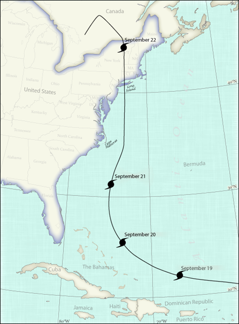 Path of Great New England Hurricane of 1938