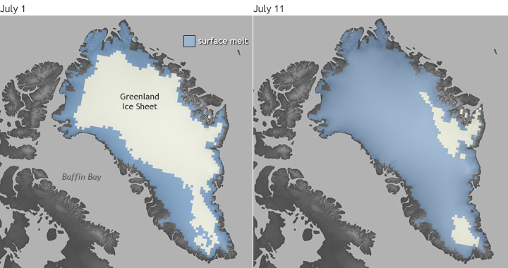 Comparison of maps showing Greenland surface melt in July 2012