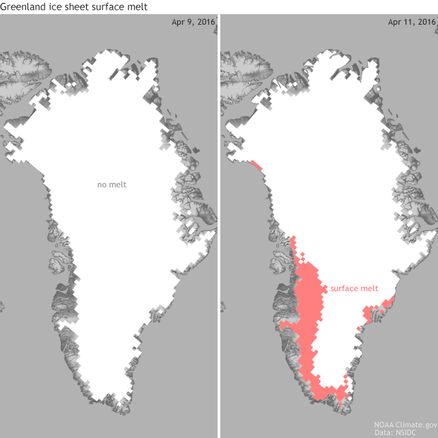 Greenland, Melt, ice sheet, record, warm