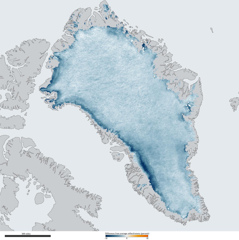 Greenland Ice Sheet Getting Darker NOAA Climategov - Map of greenland