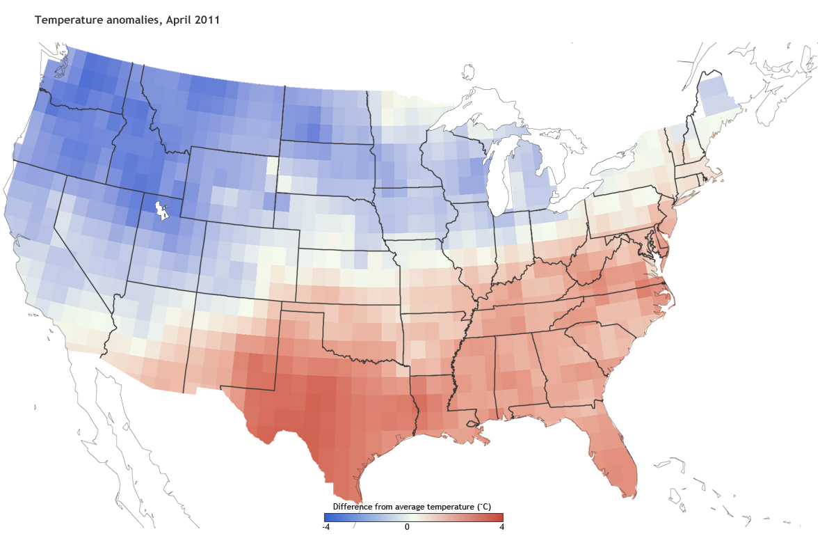 In April 2011 Unusually Cool Temperatures Overtook The Rest Of The Basin And Most Of The Western U S Data From Noaa S Climate Prediction Center Maps By