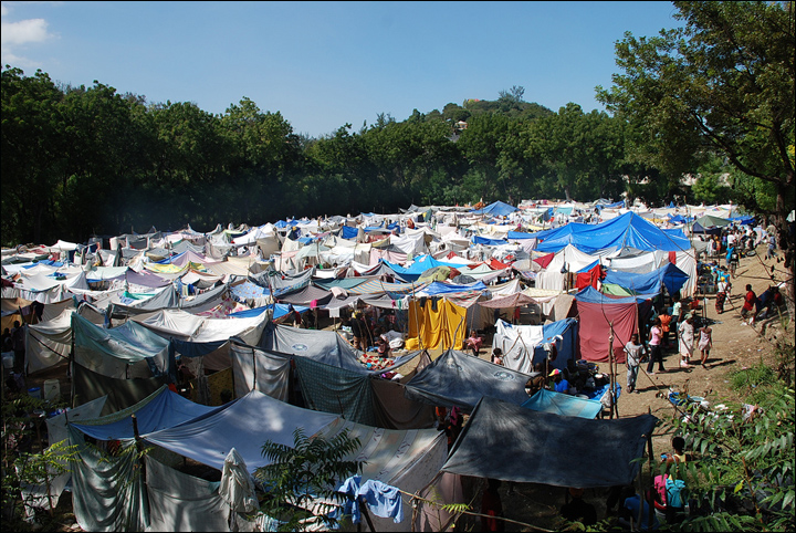 Camp of makeshift tents in Haiti