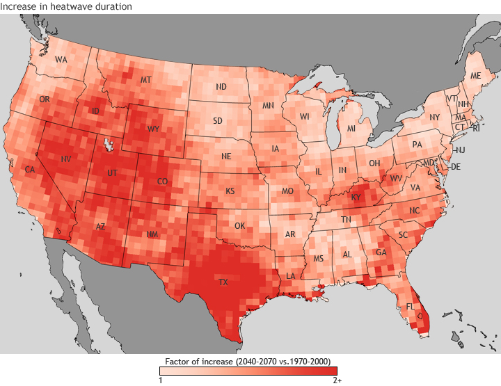 Map of U.S. showing increase in heatwave duration
