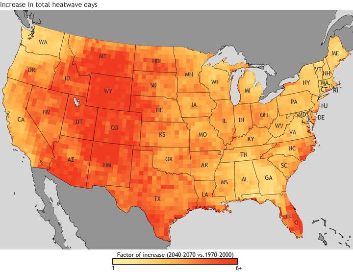 Map of US showing increase in total heat wave days