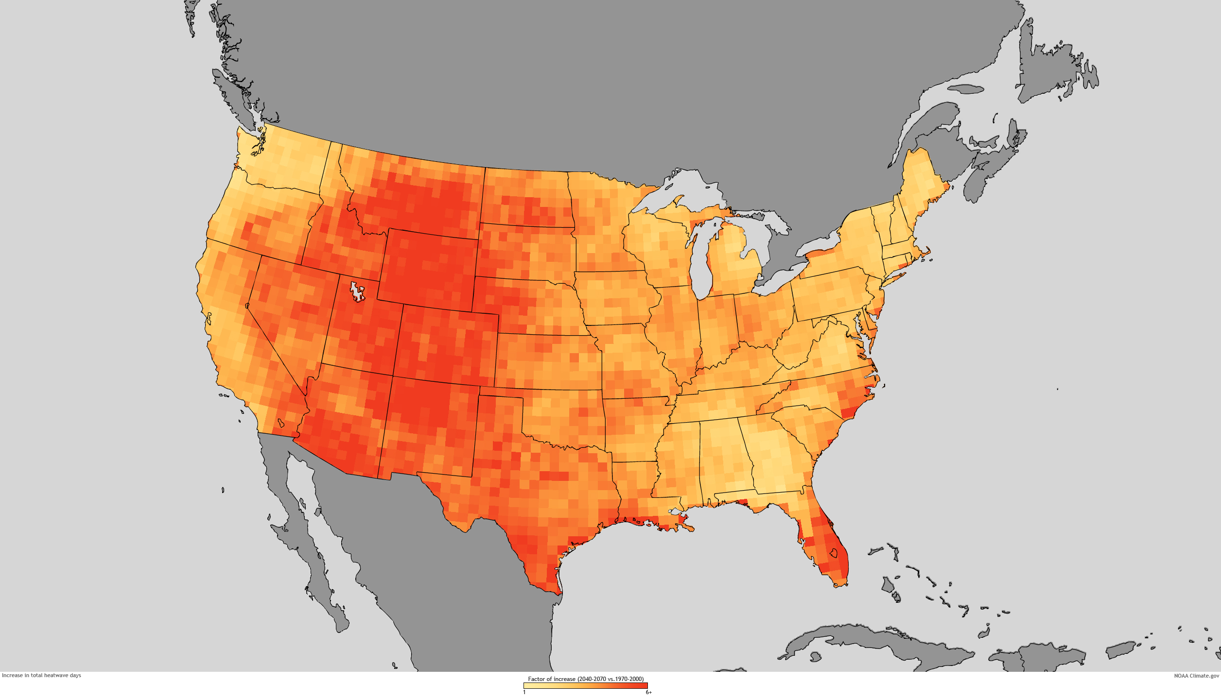 With Rising Greenhouse Gases US Heat Waves To Become More - Us heat map