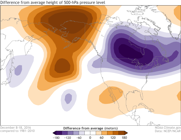 High pressure, low pressure, 500mb, 500hPa, anomaly