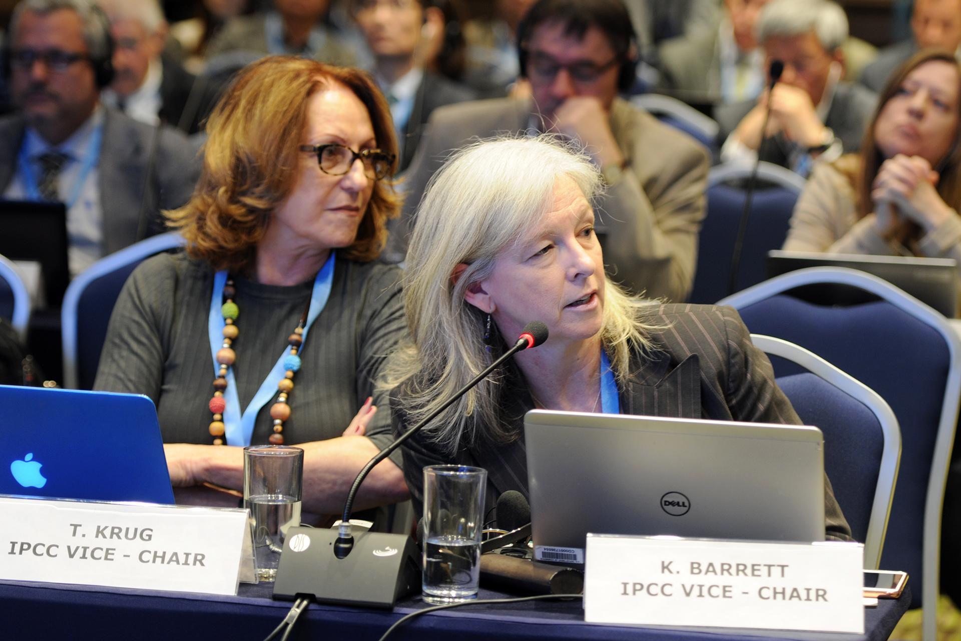 A photo of Ko Barrett behind her name plate at an IPCC meeting
