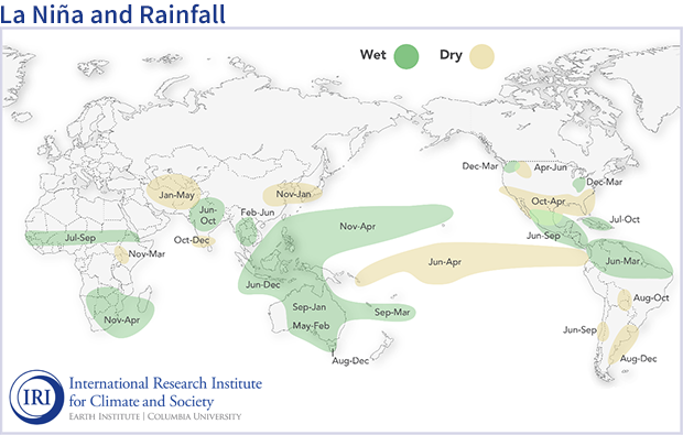 Global map showing typical seasonal climate impacts of La Niña