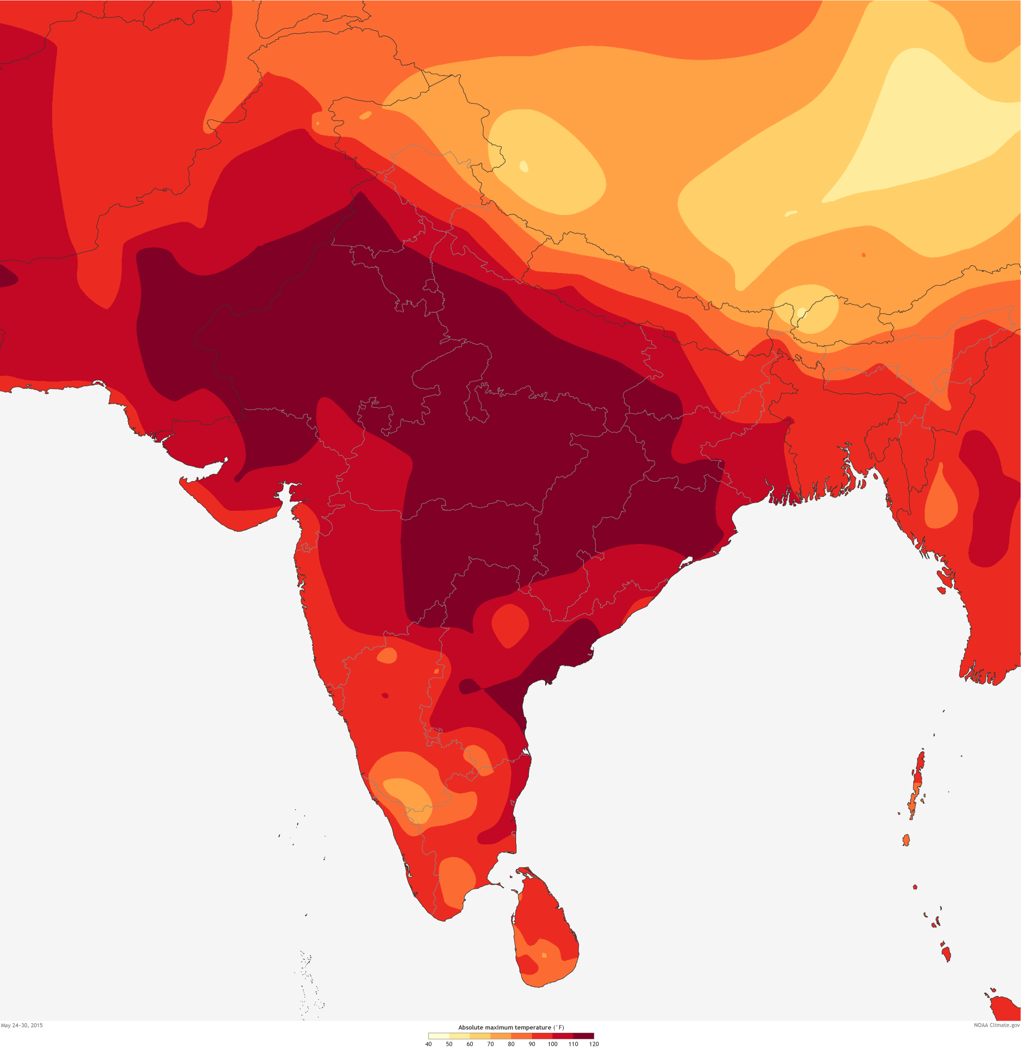 India Heat Wave Kills Thousands NOAA Climategov - Us weather map high temperatures