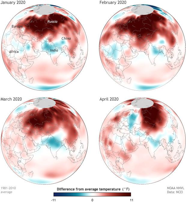 Northern Asia, Siberia, temperature anomalies