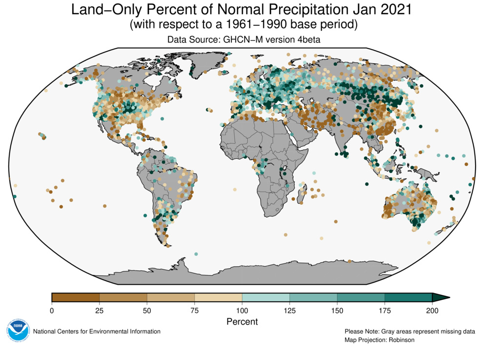 Global map of percent of average precipitation for land-based stations in January 2021