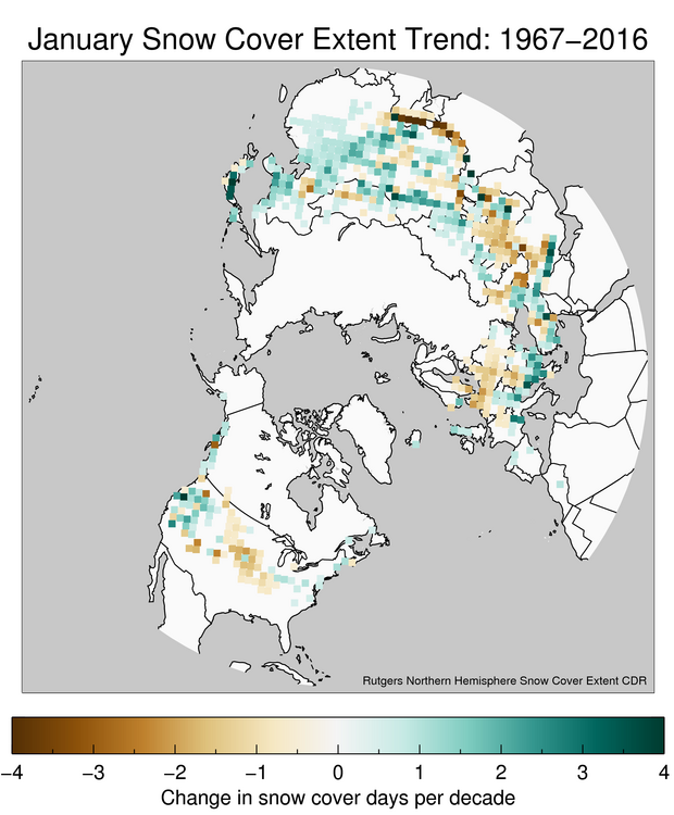 Map Of Northern Hemisphere Showing Where The Number Of Snow Covered Days In  January Has Increased Of Decreased Since 1967. Map By Jake Crouch, ...